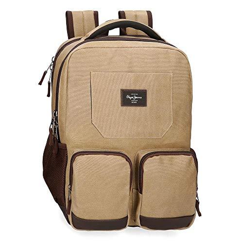 "Mochila para portátil 15,6"" Pepe Jeans JASP Dos Compartimentos, 32x46x15 cm, Marrón"