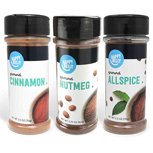 Amazon Brand - Happy Belly Baker's Pantry Spices Set: Cinnamon , Nutmeg, Allspice