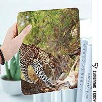 IPad 2/3/4 ケース 超薄型 超軽量 TPU ソフトスマートカバー オートスリープ機能 衝撃吸収 2つ折りスタンドApple iPad 4世代、新iPad 3(3rd Gen)&iPad 2木のヒョウヒョウPantus自然保護区ボツワナ肉食動物動物装飾