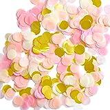 Outus 1 Pulgada Confeti de Papel Confeti de Seda Redondo Papel de Círculo de Fiesta Confeti de Mesa, 6000 Piezas, 4 Colores