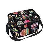 Bolsa térmica para almuerzo con diseño de medusas de océano, con correa para la escuela, oficina, picnic, para hombre, mujer, adulto, niña y niño