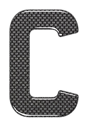 3D Resin/Gel Domed Self Adhesive Number Plate Letter 'C' (Carbon)