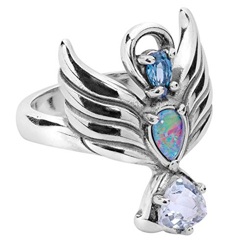 Carolyn Pollack Sterling Silver Guardian Angel Opal Triplet and Topaz Gemstone Ring Size 5