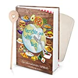 Logbuch-Verlag SET XXL Rezeptbuch zum Selberschreiben DIN A4 GERICHTE AUS ALLER WELT + Kochlöffel HERZ + Schneidebrett klein braun bunt zum selbst ausfüllen DIY eigene Rezepte