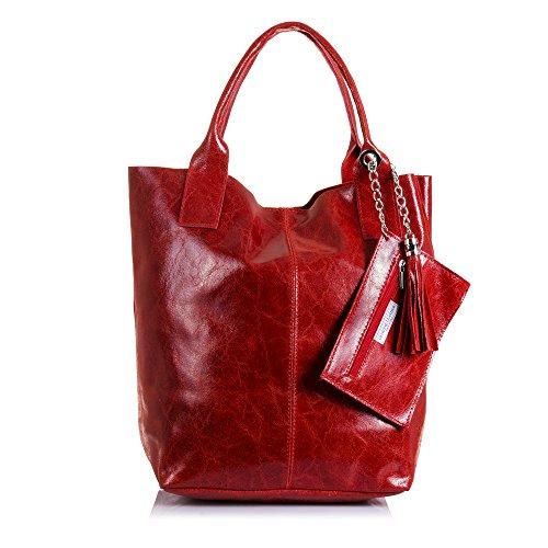 FIRENZE ARTEGIANI. Borsa shopping bag donna vera pelle. Borsa cuoio autentico laccato lucido. Portamonete di pelle. MADE IN ITALY. VERA PELLE ITALIANA. 26 x 38 x 18 cm. Colore: Rosso