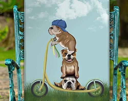 AZSTEEL Póster de Bulldog francés en scooter, divertido regalo de amistad, diseño de perro francés, regalo de pared   póster sin marco para decoración de oficina, el mejor regalo para la familia y tu