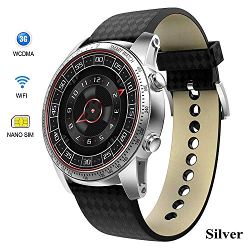 Linbing123 KW99 Android 5.1 Smart Guarda 3G GPS MTK6580 8GB Bluetooth SIM WiFi Telefono cardiofrequenzimetro Wearable Intelligente Bracciale iPhone, Heart Rate Monitor Sonno Nero