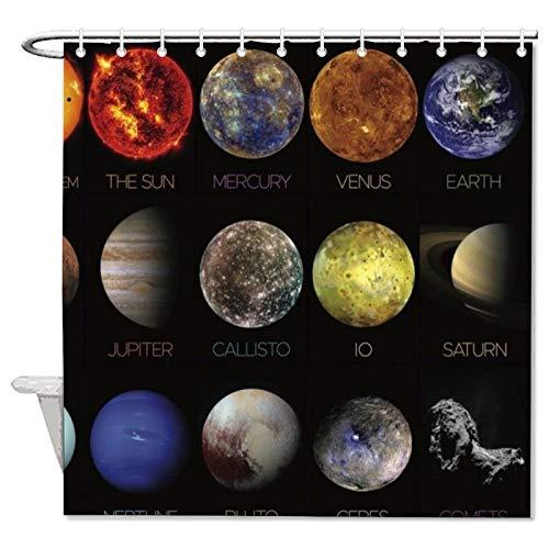 YY-one Solar System Polyester Waterproof Fabric Bath Curtain With Hooks,Shower Curtain For Bathroom Decor 60' X 72'