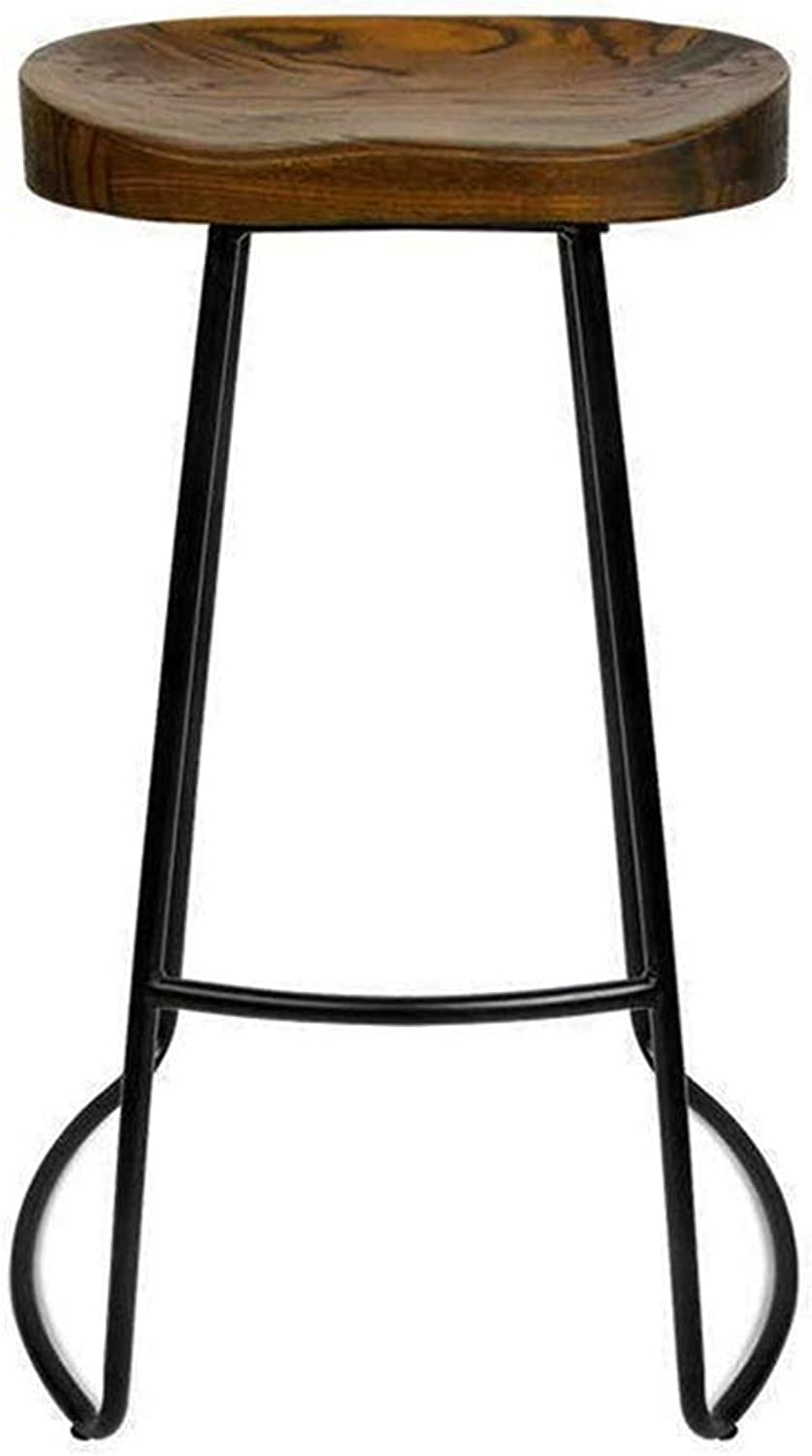 Brown Bar Stool, Bar Chair High Bench High Stool, Kitchen Breakfast Cafe Bar, Industrial Bar Stool Metal Legs, Maximum Load 150kg (Size   Seat Height 65cm)
