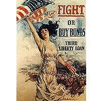 ファイトまたは購入ボンドヴィンテージ第一次世界大戦WW1WWIUSA軍事宣伝ポスター絵画家の壁の装飾-60x80cmフレームなし