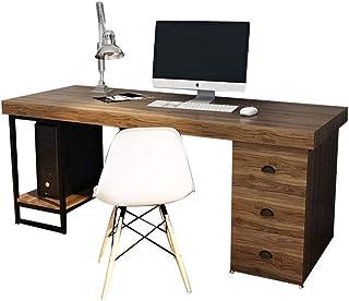 GAGP Table d'ordinateur Bois Rustique Industriel et Informatique d'écriture de métal Bureau avec Dossier Armoire de Rangem...