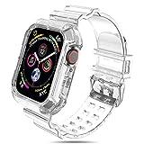 NAKOP iWatch バンド 保護ケース付き 透明 iWatch バンドストラップ 頑丈 Apple Watch 38mm 40mm 42mm 44mm、Apple Watch バンド に対応 Series6 SE 5 4 3 2 1(42mm/44mm, 透明)