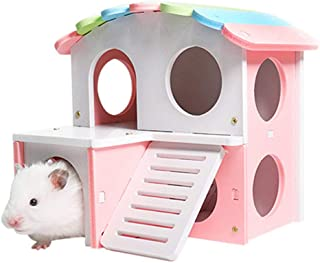 POPETPOP Wooden Hamster House-Pet Small Animal Hideout Deluxe Two Layers Hut Chews Toys for Hedgehog,Mice,Sugar Gliders,Dw...