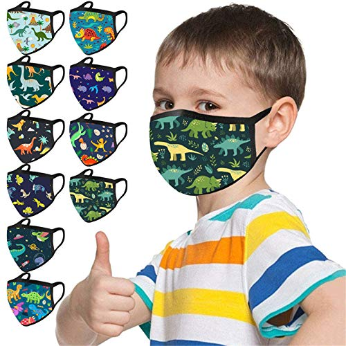 Gerichy 10PC Kids Reusable Face Bandanas Washable Seamless Cotton Cloth Cartoon Dinosaur Print Face_Masks for Boys and Girls Back to School