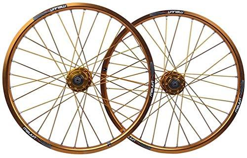 QMH BMX Coppia Ruote Bici da 20 Pollici Cerchio in Lega A Doppia Parete Freno A Disco QR 8/9/10 velocità Hub per Schede per Bicicletta Pieghevole 32H,Gold