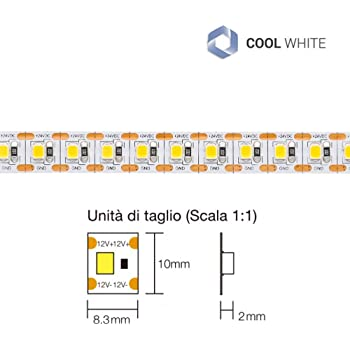 strip led bianco naturale striscia led 14 W//mt strip led per esterno striscia led 4000K striscia led flessibile LineteckLED/® E15.050.14N Striscia LED in tubo di silicone IP65 220V SMD 3014 50 metri