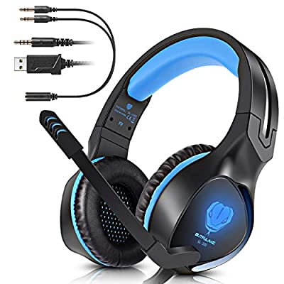 BUTFULAKE Stereo Gaming Headset for PS4, Xbox One, Nintendo Switch, Adjustable Earmuffs and Over-All Noise Isolation, Lightweight 3.5mm Wired Volume Control with Mic for Laptop PC