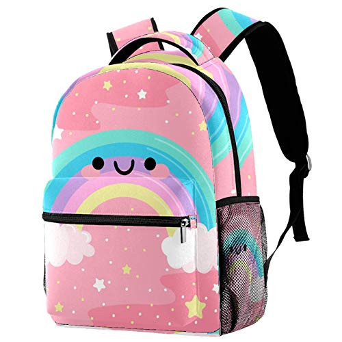 School Bags for Girls Boys,Resistant Durable Casual Basic Backpack for Students Cute Rainbow