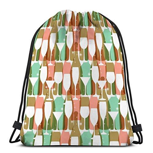 Mochila de Cuerdas Bolsa de Cuerda vino botellas vasos llamativos colores modelo web afiche textil imprimir otro re pastel rojo 36X43CM
