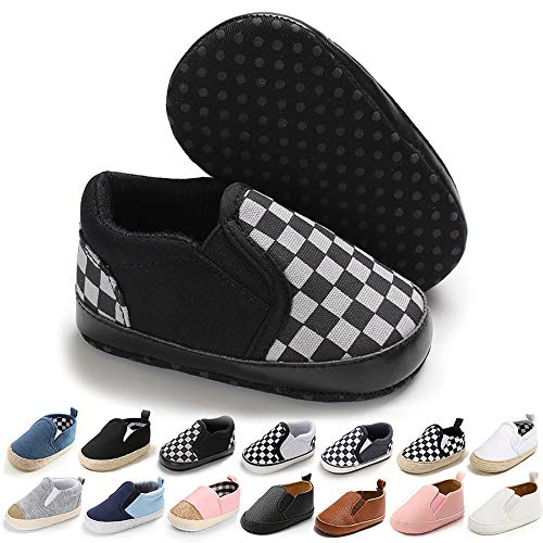 Meckior Infant Baby Girls Boys Canvas Shoes Soft Sole Toddler Slip On Crib Moccasins Casual Sneaker Austin Boy's Flat Lazy Loafers First Walkers Skate Shoe (6-12 Months, C-Black)