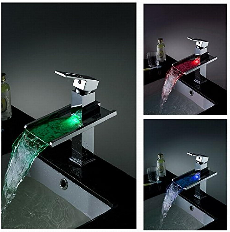 Cascada einzigen Griff Chrom Wasserfall LED Waschbecken Wasserhahn, Chrome Finish