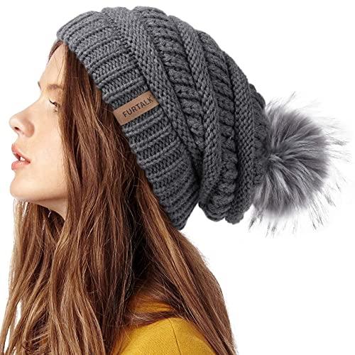 FURTALK Beanie Hat for Ladies Double Layer Fleece Line Winter Rib Knit Hats with Faux Fur Pom Pom Hat Deep Grey