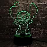 3D ilusión luz Lilo & Stitch noche lámpara 16 colores cambio automático escritorio decoración lámparas regalo cumpleaños con control remoto