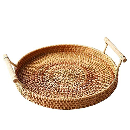 somubi Rattan Woven Bread Basket with Handles Round Woven Fruit Basket or Serving Dinner Party Picnic 24CM