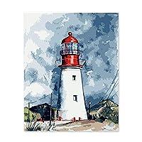 数字で描くアート数字で描く家の装飾装飾的な絵画の色アクリルワンピース灯台独自の色プロピレン40x50cmフレームなし