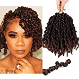 4 Packs Pre-twisted Spring Twist Crochet Hair Short Curly Braids Pretwisted Passion Twists Bomb Twist Bob Pre-looped Synthetic Hair Extensions (8 Inch,T30#)