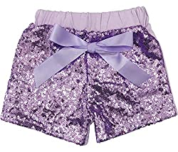 Lavender Sequin Short Pants with Bow