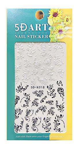 5D Nagelsticker schwarz weiße Ornamente (5D-K018), selbstklebende Nagelsticke, sehen aus wie echt