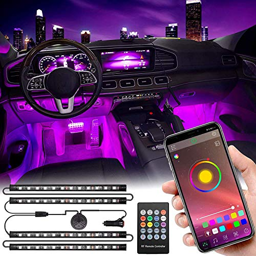 Interior Car Lights, Car LED Strip Lights Interior Upgrade Two-Line Design 4pcs 48 LED APP Controller Waterproof Lighting Kits, Multi DIY Color Music Under Dash Car Lighting with Car Charger, DC 12V
