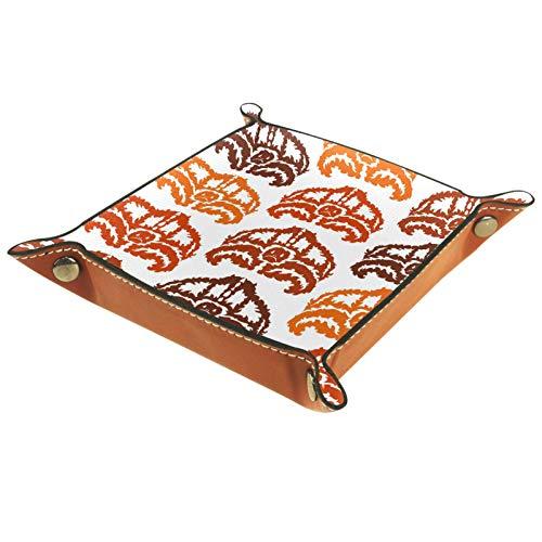 AITAI - Bandeja de cuero vegano para mesita de noche, organizador de escritorio, con placa de almacenamiento para pared, pintura especial de arañas
