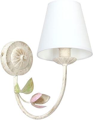 Élégant Applique murale avec écran (Floral, blanc, entonnoir, E14) Floren tiener Lampe plastique Lampe murale Lampe de couloir