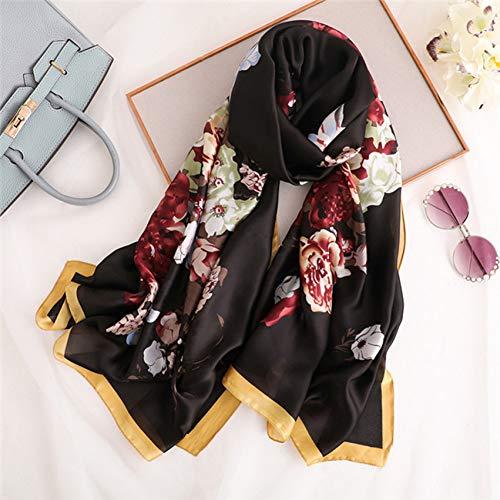 KKYHV sjaal Vrouwen 100% Pure Zijde Sjaal Vrouwelijke Bedrukking Bloemen Foulard Sjaals En Sjaals Beach Hijab 180 * 90Cm