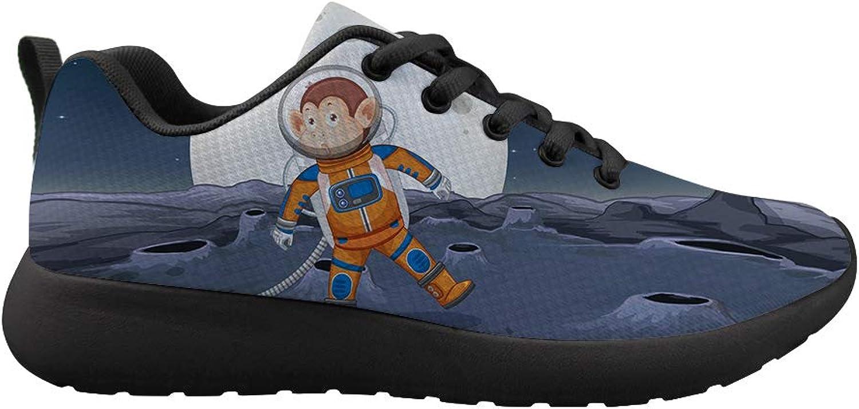 Owaheson Cushioning Sneaker Trail Running shoes Mens Womens Monkey Astronaut Spacewalk