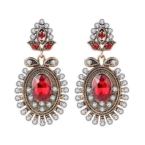 AdronQ Pendientes De Clip Aros Pendientes Colgantes Rojos para Mujer Moda Color Dorado Antiguo Flor De Cristal Blanco Joyería Vintage