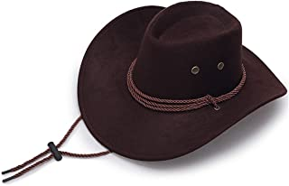 Bofu Cowboy Hat Faux Leather Wild Brim Cowgirl Unisex Outdoor Camping Hat