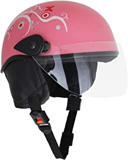 Sage Square Adjustable Junior Helmet for Kids Baby Safety and Comfort (3-12 Years) (Pink Glossy Sticker Design 1)