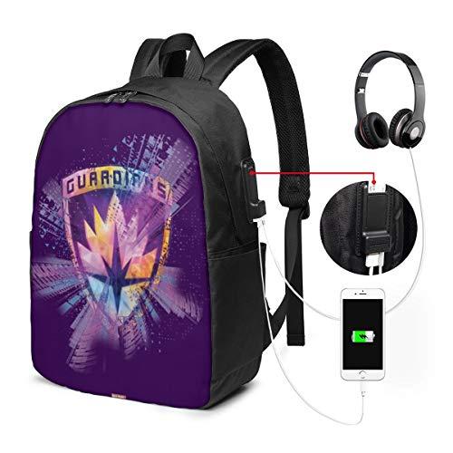 Bolsa de Viaje multifunción para portátil, Mochila de Lona con Puerto de Carga USB y Orificio para Auriculares para Adolescentes, niñas, niños, Guardianes de la Galaxia Crest Neon