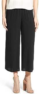 Plus Silk Georgette Crepe Wide Leg Crop Pants Black 1X