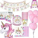 Jolily Unicornio Decoraciones cumpleaños Suministros Vajilla 16 Personas 1 Paño...