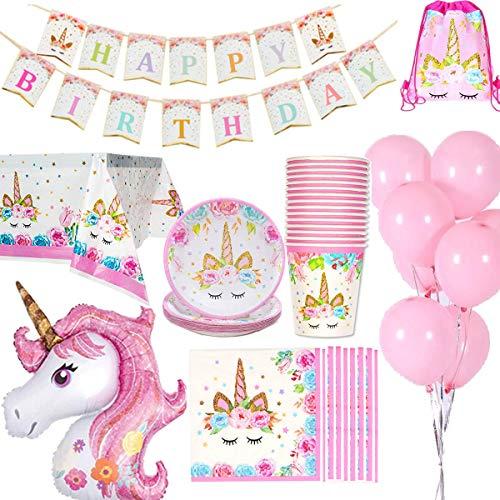 Jolily Unicornio Decoraciones cumpleaños Suministros Vajilla 16 Personas 1 Paño Tabla Cubierta 16 Copas 16 Platos 16 Servilletas 1 Happy Birthday Bandera 1 Unicornio tamaño Enorme 10 Globos Rosas