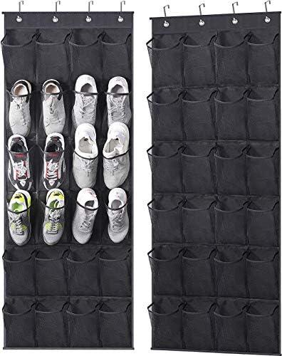 MISSLO Over The Door Shoe Rack 24 Large Mesh Pockets Door Shoe Organizer Hanging for Closet product image