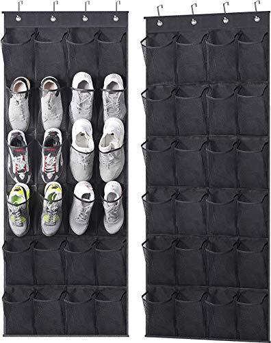 MISSLO Over The Door Shoe Rack 24 Large Mesh Pockets Door Shoe Organizer Hanging for Closet Shoe Holder Storage Bags 2 Pack Black