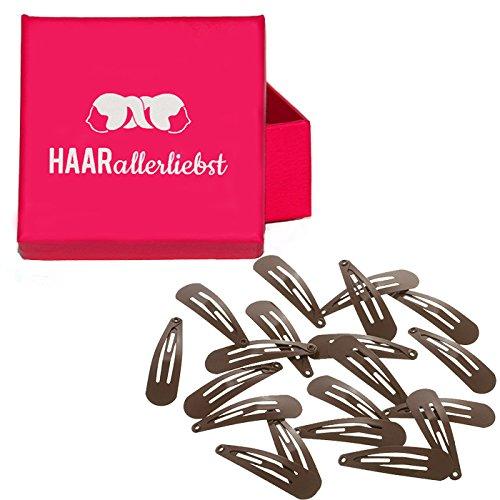 HAARallerliebst Haarspangen klein (20 Stück | braun | 3,9cm) inkl. Schachtel zur Aufbewahrung (Schachtelfarbe: pink)