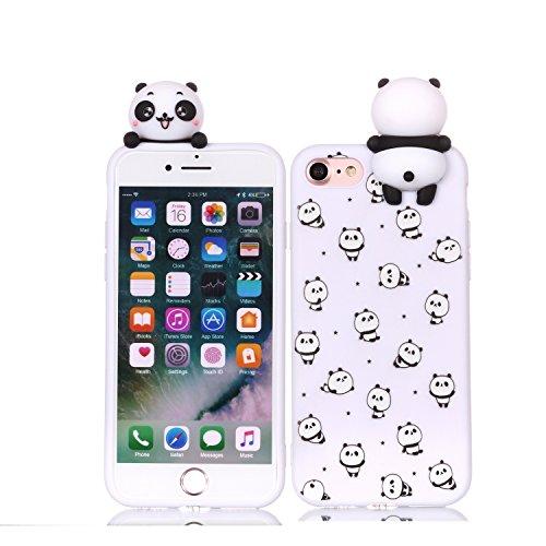 Oihxse Cover per iPhone 6 Plus / 6S Plus, Custodia Silicone con 3D Animale Cartoon Pattern Doll, Moda Carino Bambola Antiscivolo Antiurto Flessibile Morbido TPU Protettivo Bumper Case - Panda 1