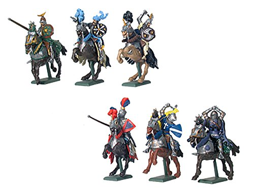 Britains W Deetail Mounted Knights 6 Figure Set Painted Plastic Figures and Horses on Metal Base Collectible Toy Soldiers 1/32 Scale 54mm
