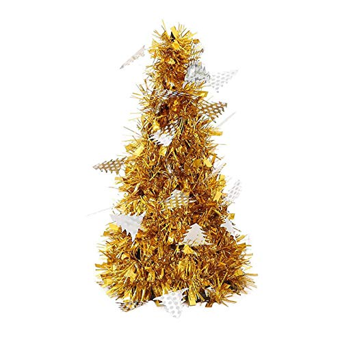 OLOPE Mini Desktop Decoration,Creative Mini Christmas Tree Decoration Small Tree Christmas Decoration,Decoration Trees Ornaments for Your Friends,Family (Gold)